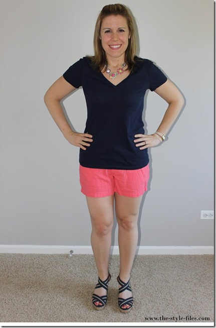 The Style Files- navy tee, coral linen shorts, navy wedges