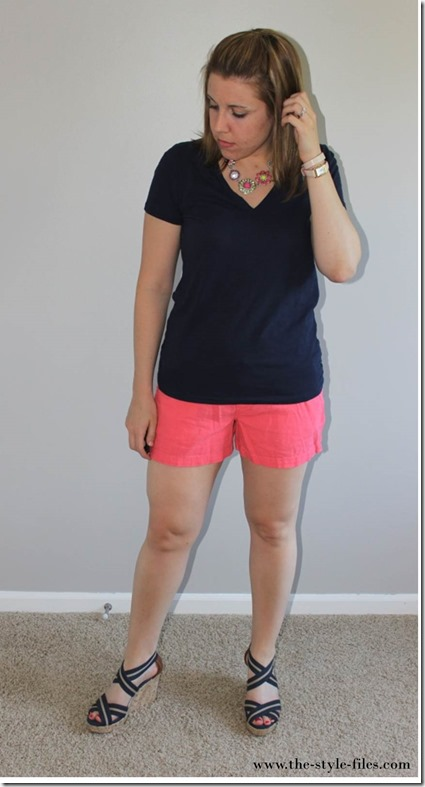 The Style Files- navy tee, coral linen shorts