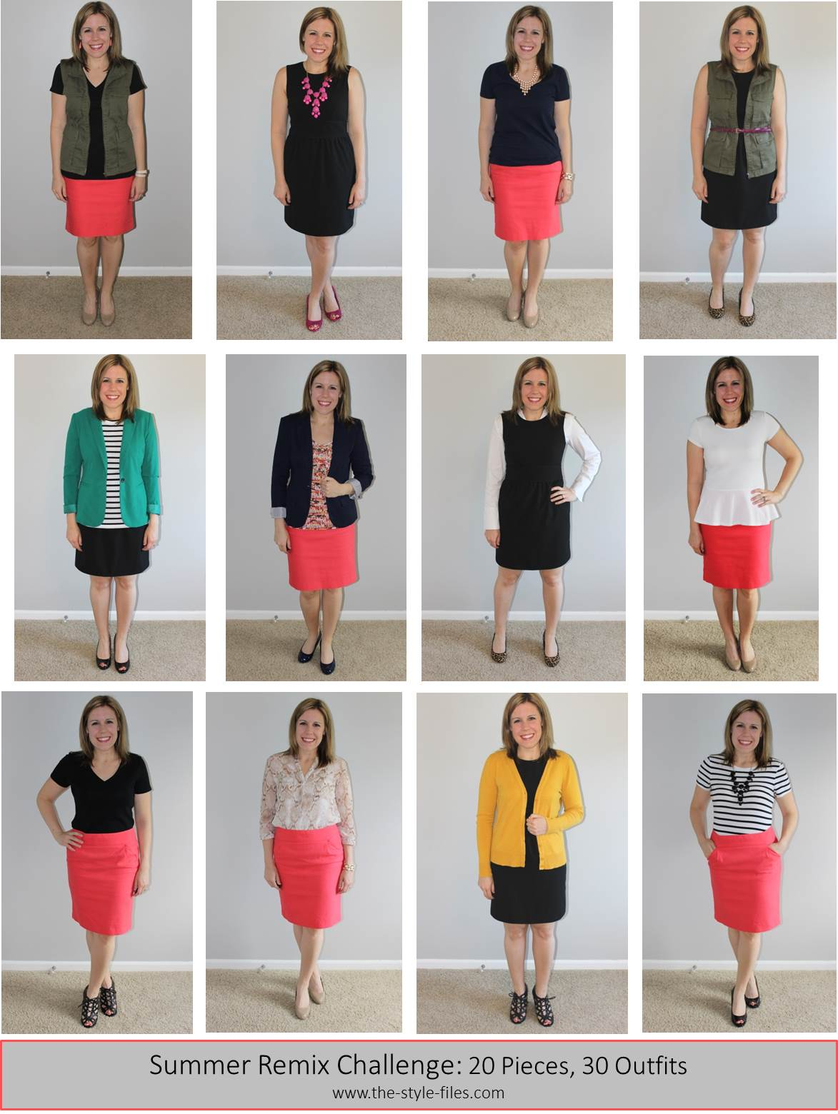 Week 3- 20x30 summer remix with coral pencil skirt, black dress