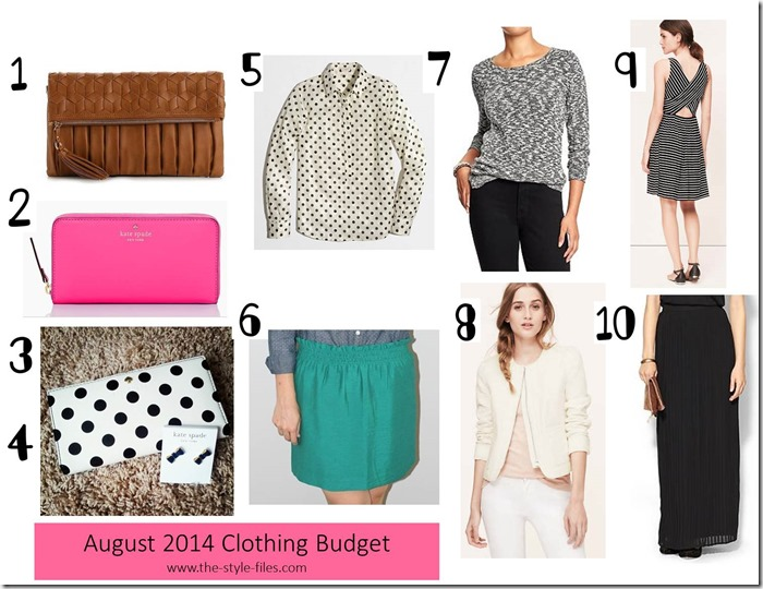 August 2014 Clothing Budget