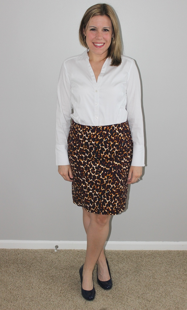 Leopard print top, white button up