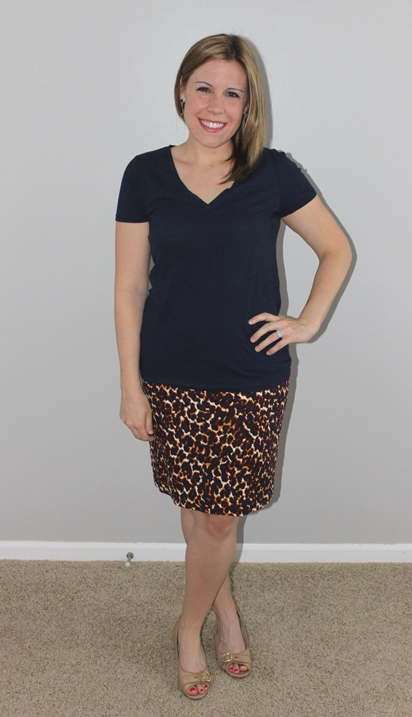Leopard print top, navy v-neck tee