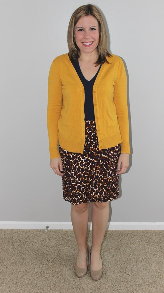 Leopard print top, navy v-neck tee, mustard cardigan