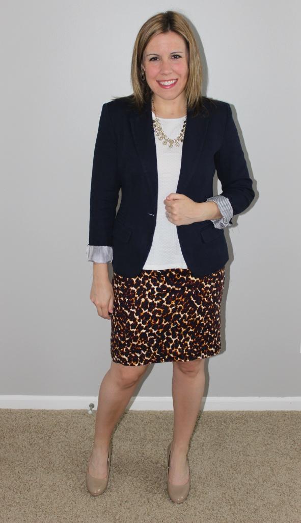 Leopard print skirt, white peplum top, navy blazer, nude heels