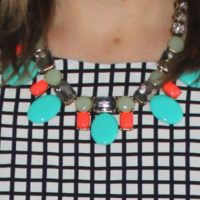 black and white geometric print, statement necklace
