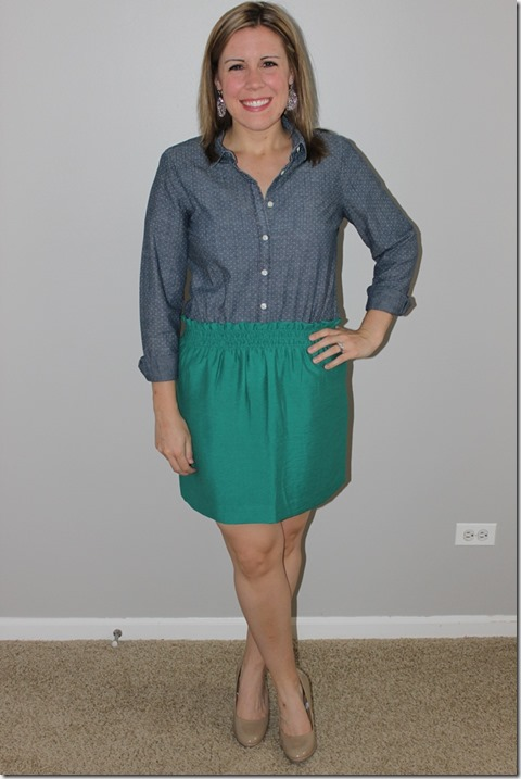 chambray and linen city mini skirt, j crew
