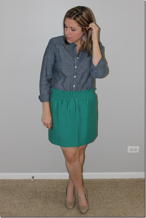 j crew chambray and linen city mini skirt