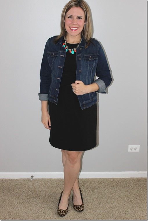 statement necklace, jean jacket, black dress, leopard heels