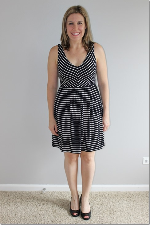 loft striped crossover cutout dress