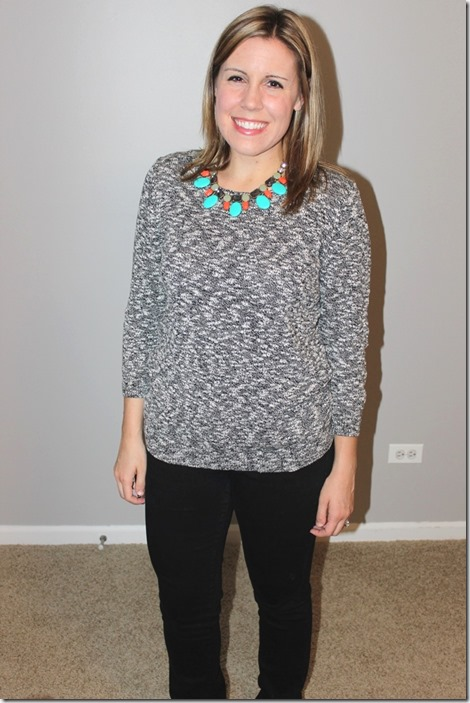 black denim, heathered sweater, statement necklace