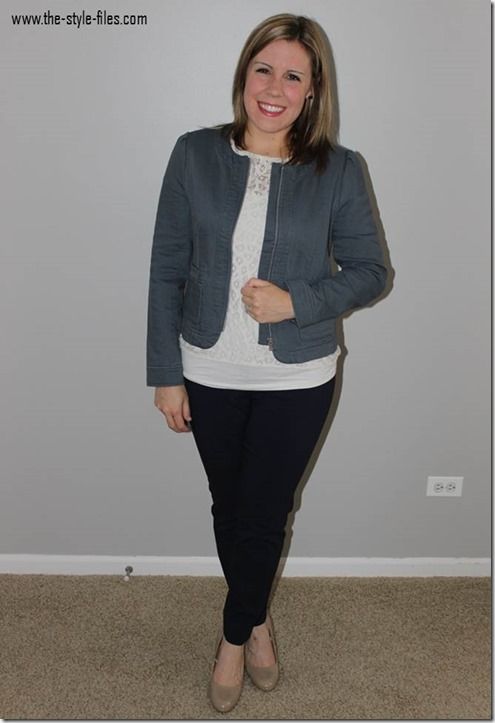 The Style Files- Fall Favorites- Slate blazer, cream lace tee, navy pants, nude heels