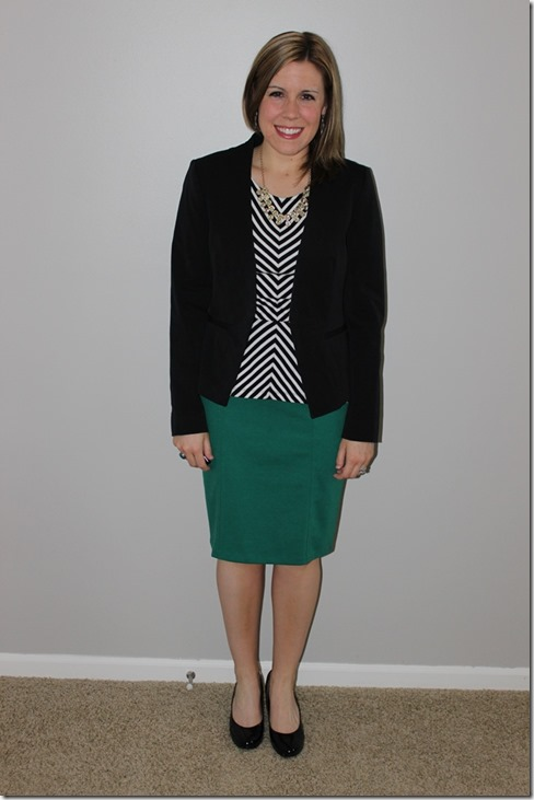 black and white peplum layered with black blazer, green pencil skirt