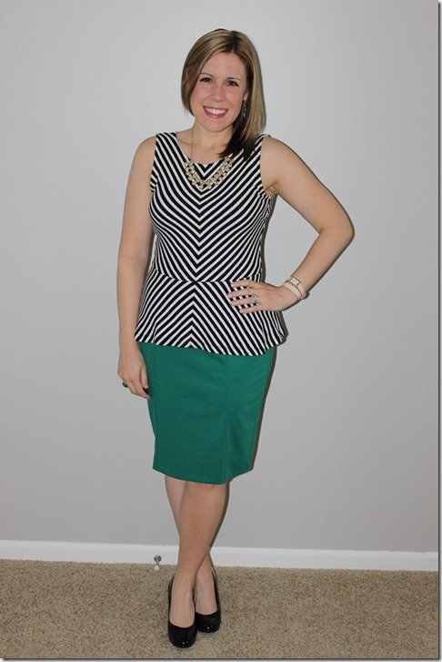 black and white peplum, statement necklace, green pencil skirt