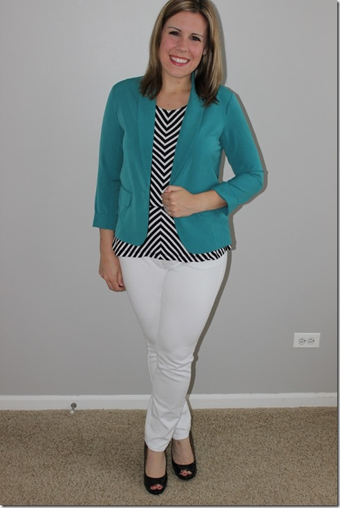 black and white peplum layered with teal blazer, white denim