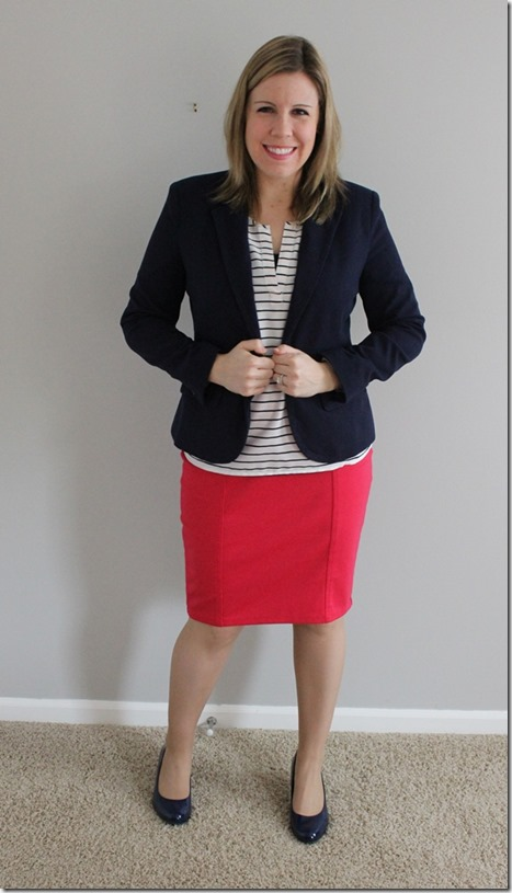 Navy blazer, white striped blouse, pink pencil skirt