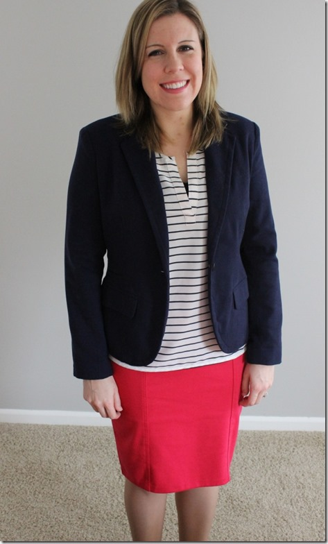OOTD: Navy blazer, white striped blouse, pink pencil skirt