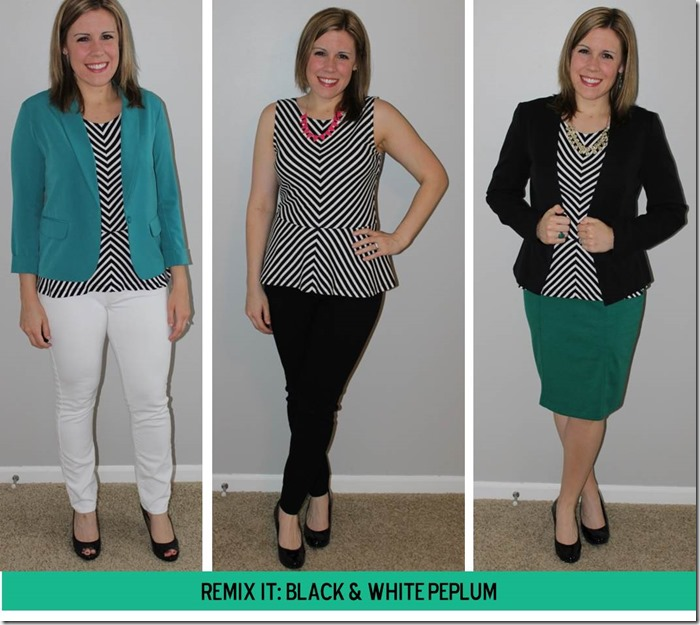 Remix it- black and white peplum 3 ways...from cubicle to cocktails!