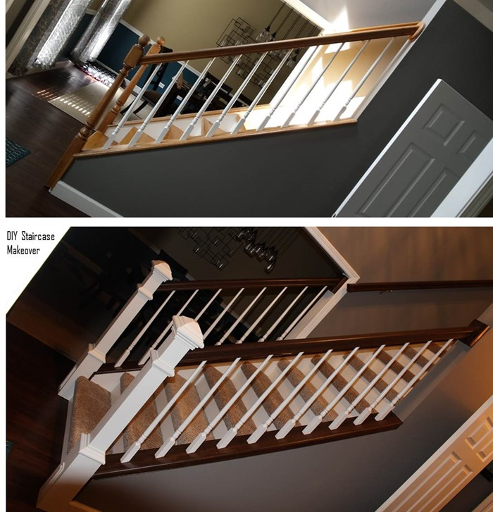 DIY Staircase Makeover side view