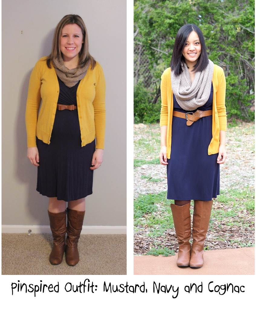 Pinspired outfit- mustard, navy, cognac