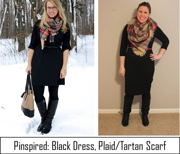 Pinspired: Black Dress and Plaid Tartan Scarf and Target Gift Card Giveaway