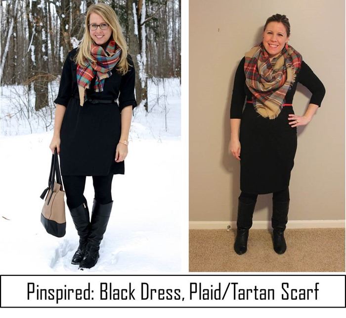 Pinspired- Black Dress, Plaid Tartan Scarf