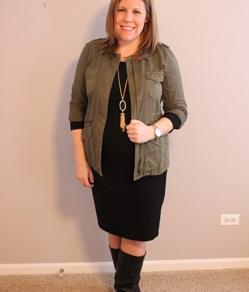 Maternity Style: Black Dress, Cargo Jacket, Black Boots