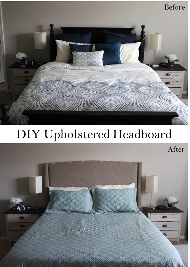 DIY Upholstered Headboard before and after