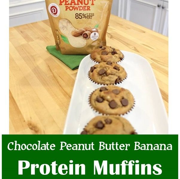 Chocolate Peanut Butter Banana Protein Muffins