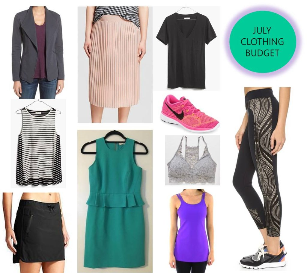 july 2016 clothing budget