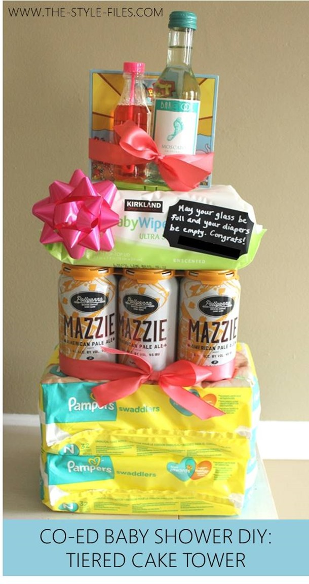 Co-Ed Baby Shower DIY- Tiered Cake Tower