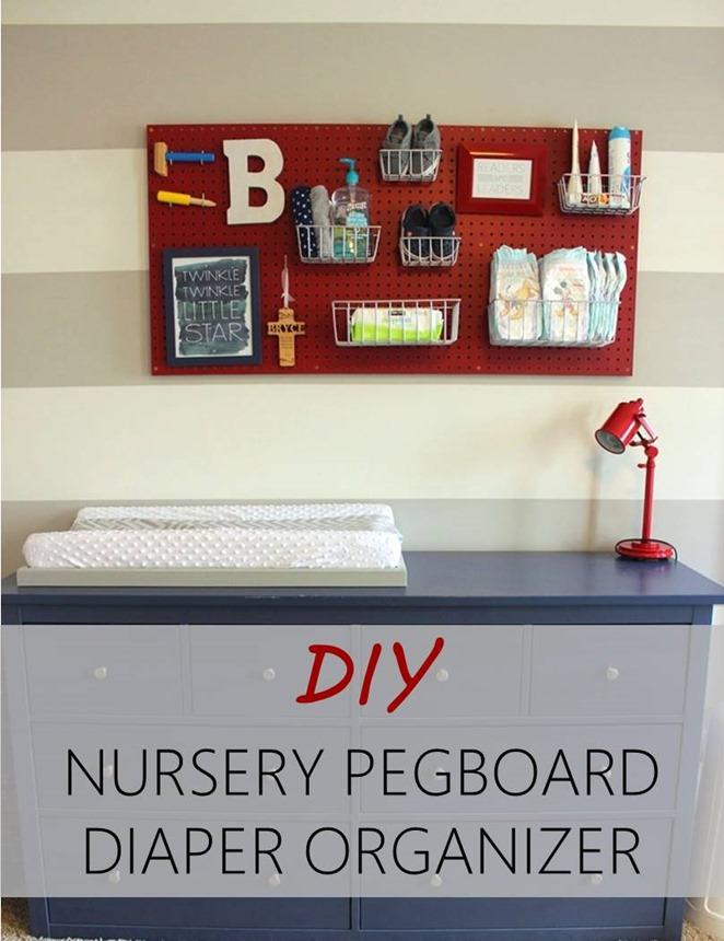 DIY Nursery Pegboard Diaper Organizer