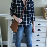 pinterest outfit black white plaid fall