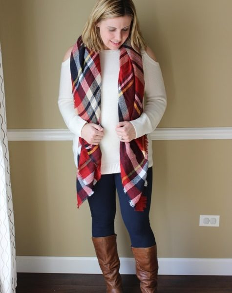Mom Style #38 // Cutout Sweaters and a Pop of Plaid