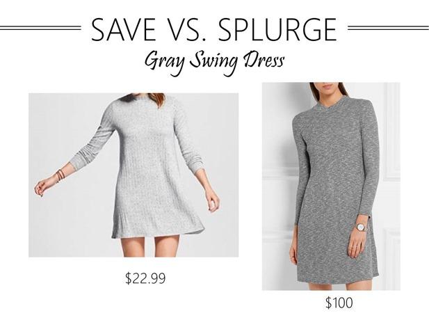 save vs splurge gray swing dress