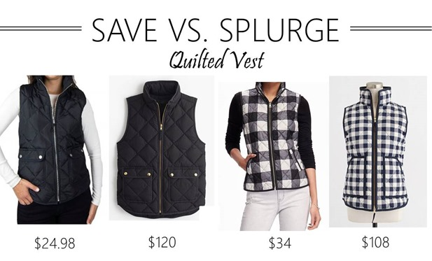 save vs splurge quilted vest