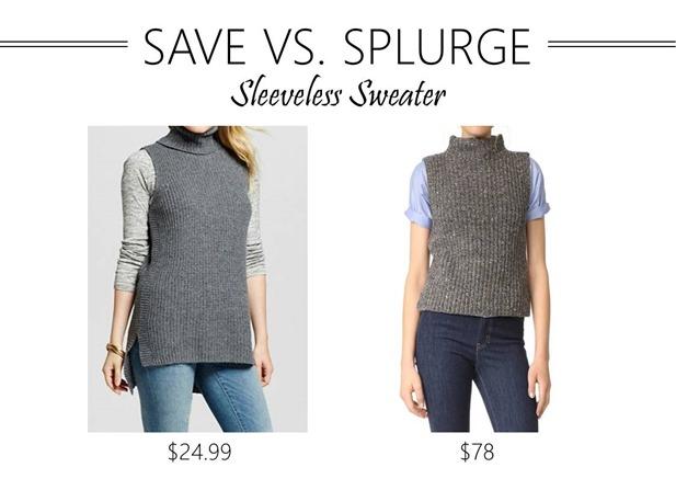save vs splurge sleeveless sweater