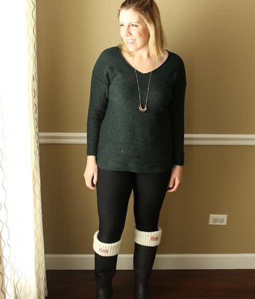 Mom Style #42 // Dolman Sweater, Leggings, Hunter Boots