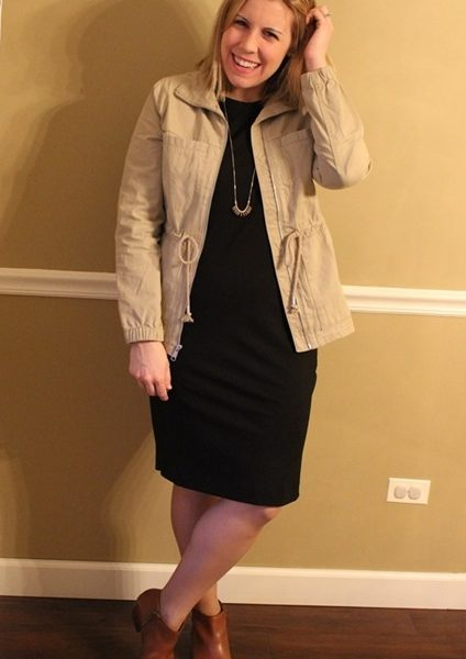 Mom Style #43 // eShakti Ponte Shift Dress + Old Navy Field Jacket