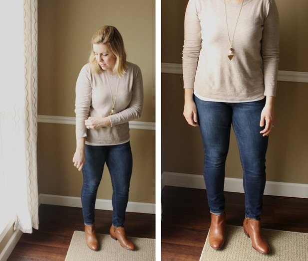 mom style, camel sweater, cognac booties, jeans, neutrals