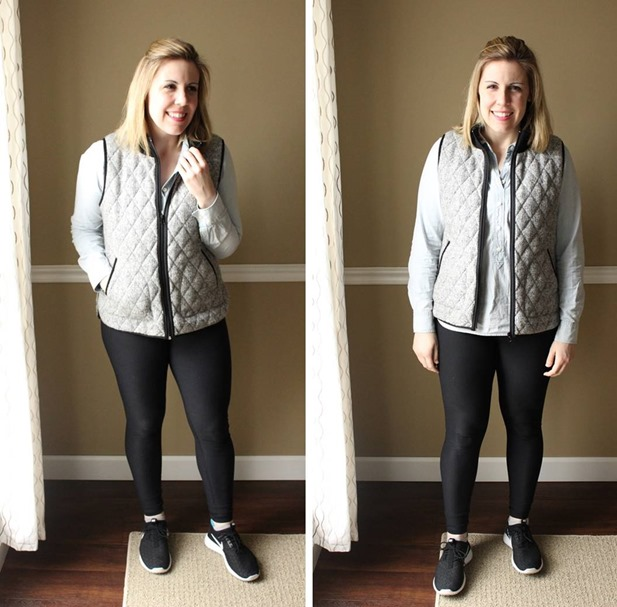 minimalism style, gray quilted vest, chambray, black leggings, athleisure