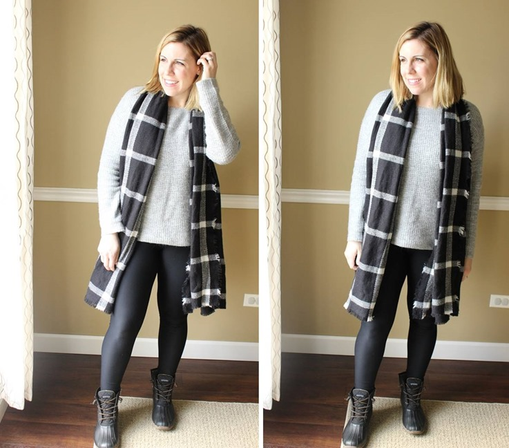 minimalism style, gray sweater, black plaid scarf, leggings, duck booties