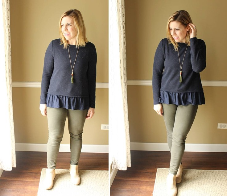 navy peplum and olive